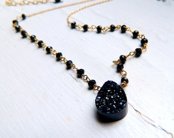 Midnight Black Titanium coated druzy with black Spinel Wire Wrapped chain Necklace