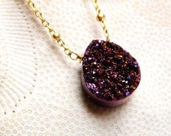 Plum Titanium Tear drop Drusy / Druzy Qaurtz And 14K Gold Filled beaded chain Necklace