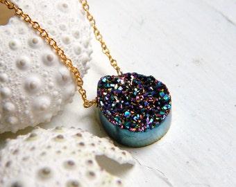 Rainbow Titanium Tear drop Drusy / Druzy Qaurtz And 14K Gold Filled Necklace