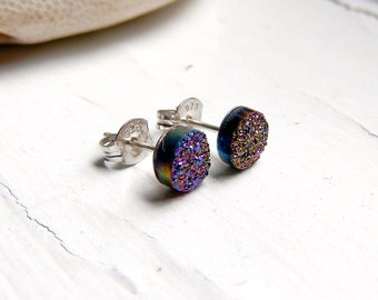 Mini Rainbow Titanium Drusy / Druzy Quartz Studs on Sterling Silver posts Earrings