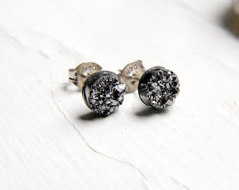 Mini Silver Titanium Drusy / Druzy Quartz Studs on Sterling Silver posts Earrings