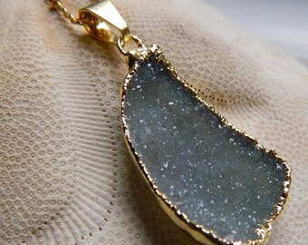 Beautiful Gold Dipped Grey - Green Drusy / Druzy Quartz 14K goldfilled Necklace, 16""