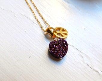 PEACE & LOVE necklace - 24K gold Vermeil Peace Charm and Plum Titanium coated Valentines day Heart Drusy / Druzy quartz Charm Necklace
