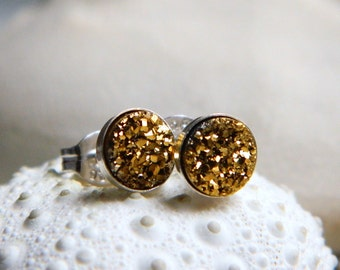 Mini Sterling Silver Bezel Set Gold Titanium Drusy / Druzy Quartz Stud Earrings