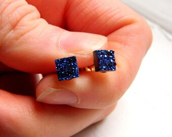 Mini Royal Blue square Titanium Drusy / Druzy Quartz Studs on sterling silver posts Earrings