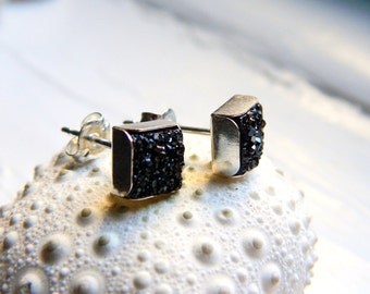 Mini Sterling Silver Bezel Set Midnight Black Titanium Drusy / Druzy Quartz Stud  Earrings