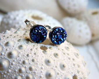 Mini Sterling Silver Bezel Set Royal Blue Titanium Drusy / Druzy Quartz Stud  Earrings