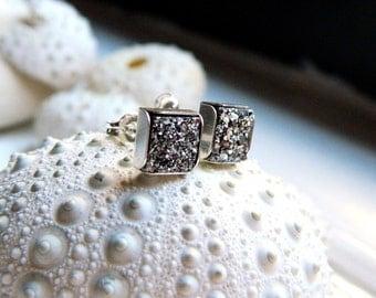 Mini Sterling Silver Bezel Set Silver Titanium Drusy / Druzy Quartz Stud  Earrings