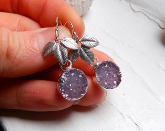 Satin finish Silver plated three leaf connector and round Amethyst drusy / druzy quartz earrings
