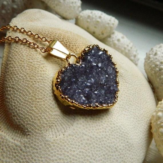 Gold Dipped Heart Drusy / Druzy Quartz  Necklace