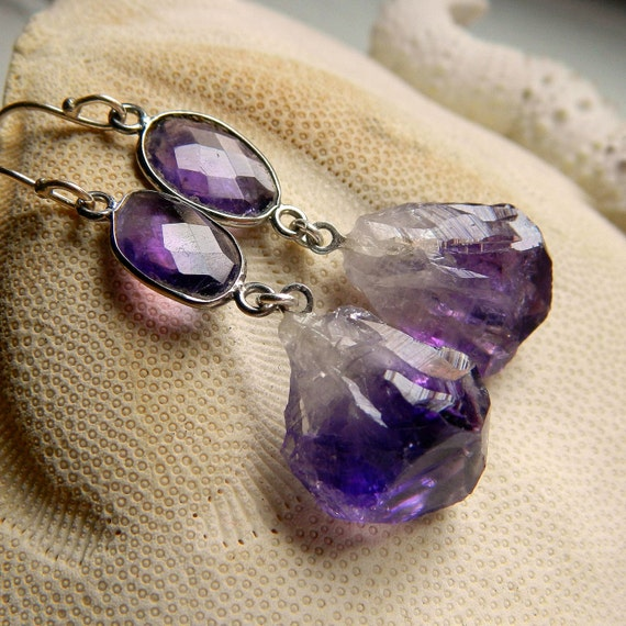 Sterling Silver Bezel set Amethyst and Natural Raw Amethyst Point Earrings