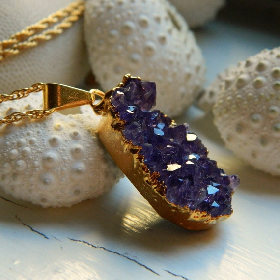 Natural Amethyst Gold Dipped Drusy / Druzy Quartz Pendent, and 18 inch 14K Gold Filled Rope link chain Necklace