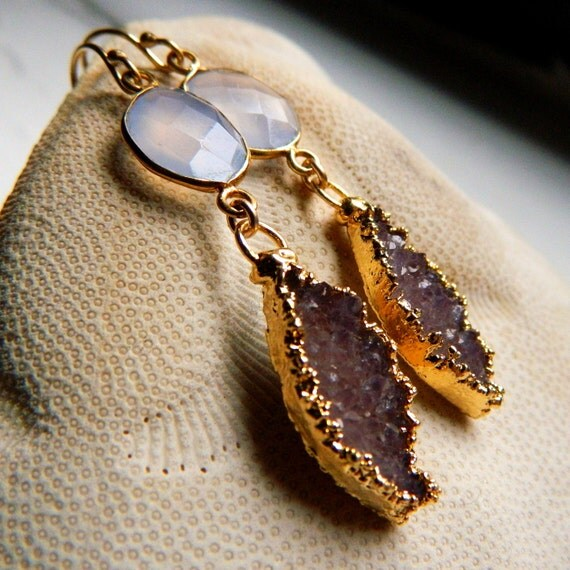 24K Gold Vermeil Bezel set Natural Blue Chalcedony, and soft Pinky-brown Drusy / Druzy Quartz Earrings