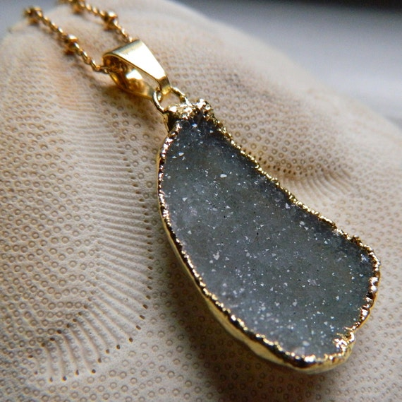 """Beautiful Gold Dipped Grey - Green Drusy / Druzy Quartz 14K goldfilled Necklace, 16"""""""