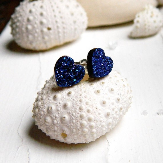 Royal Blue Titanium Heart Drusy / Druzy Quartz Studs on sterling silver posts Earrings