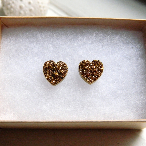 GOLD Titanium Drusy / Druzy Quartz Heart Studs on 14K Gold Filled posts Earrings