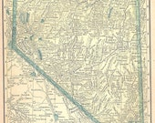 Ships Free 1908 Pre WWI Nevada or California Map (Free Shipping to US Addresses Only)