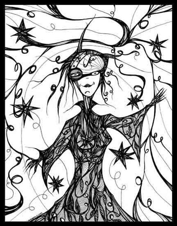 Pen Ink black white drawing woman magic carnival Carnevale