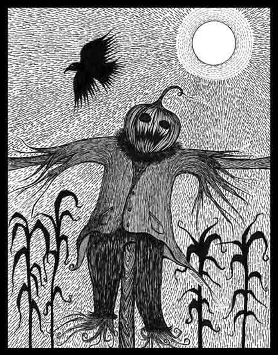 Pen Ink black white drawing scarecrow crow Halloween farm autumn Are You Scared Yet