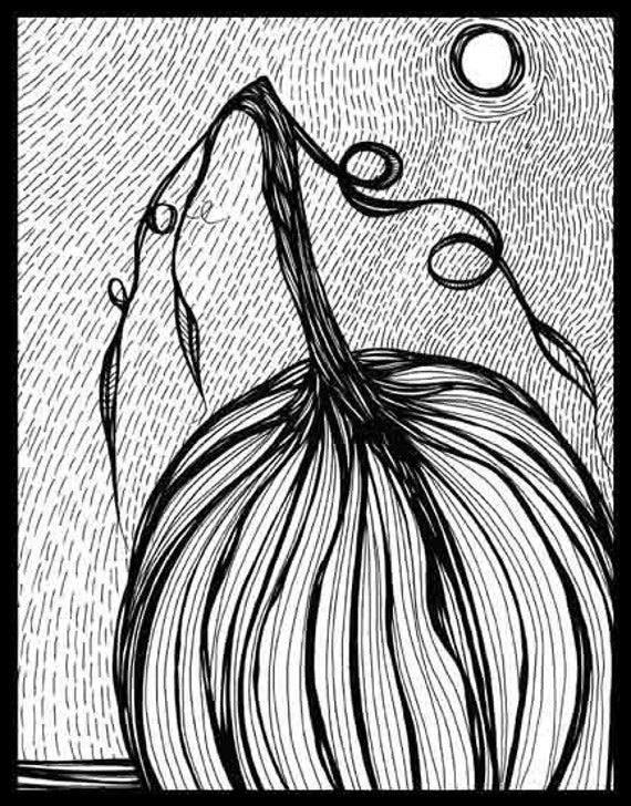 Pen Ink black white drawing pumpkin Halloween ground earth Closer To The Ground