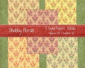 Digital Paper Pack Shabby Floral Chic 5 Different Papers A4 Size 8.5 x 11 inches each Use for Note Cards Scrapbooking and More.
