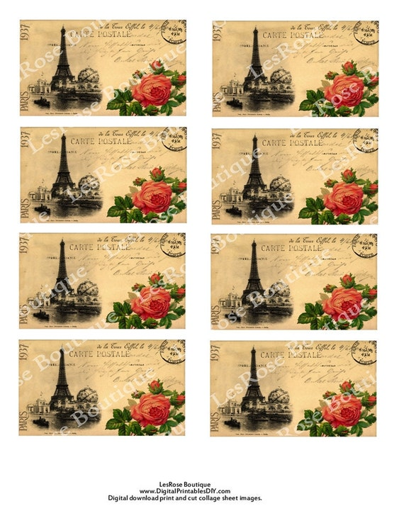 French Post Card Gift Tag Eiffel Tower with Roses Carte Postal .French Market Style Sheet No.198  Digital Download for Gift Tags Hang Tags