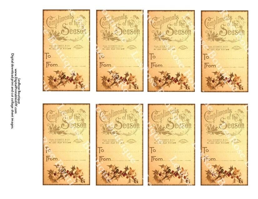 Vintage Wedding Gift Tag Templates Free : Vintage Christmas Tags Printable vintage gift tags - crafthubs
