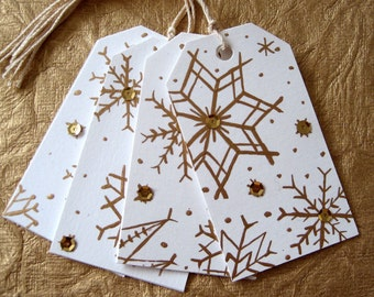 Gift Tags, Gold Snowflake - hand painted set of 4
