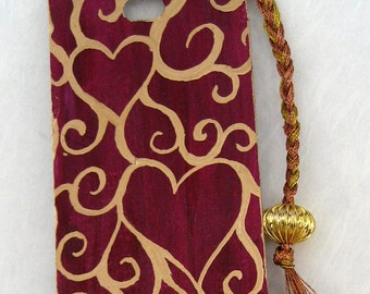 Hand painted bookmark - Purple with gold hearts