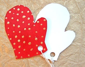 Holiday Gift Tags - Red and Gold polka dot Mittens