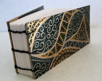 Hand Painted Notepad - green, gold and silver