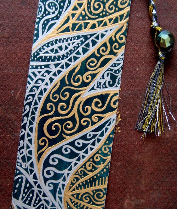 Hand painted Bookmark - Green, Silver and Gold