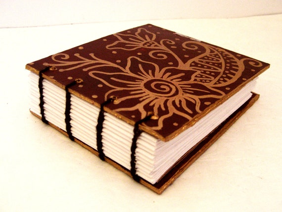 Mini Journal Coptic bound - Garden- Red and Gold florals