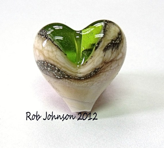 Lime Mine, Lampwork Glass Heart Focal Bead