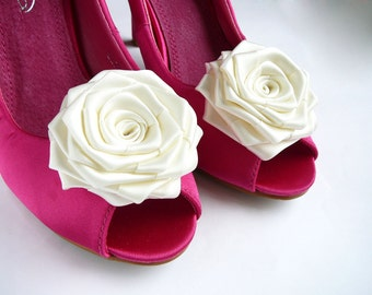 White Wedding Shoe Clips