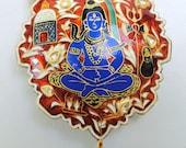 vintage antique 22 K gold pendant necklace kundan meena w pearl -6142
