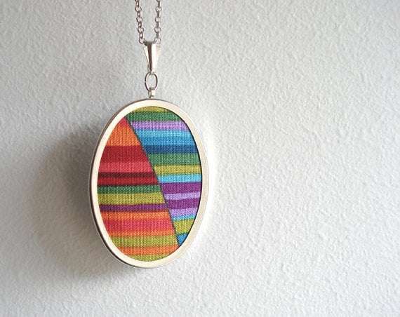 Colorful oval fabric pendant necklace