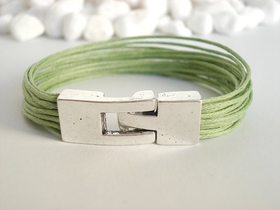 Apple green cotton bracelet. Silver clasp
