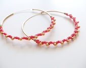 Braided Coral Earrings - Gold plated