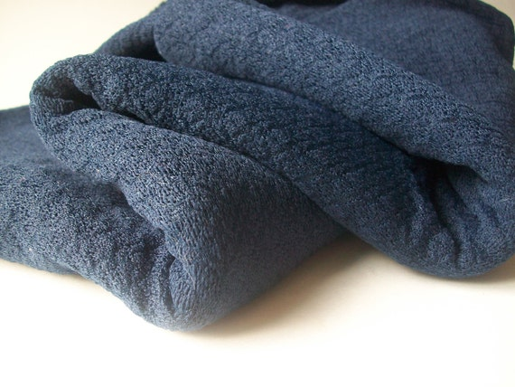 Navy Blue Knit Vintage Fabric Material for Sewing Retro 2.5 Yards