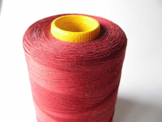 Vintage Dark Cardinal Red Thread on Industrial Cone for Sewing, Crafts, Props, Shabby Cottage Chic