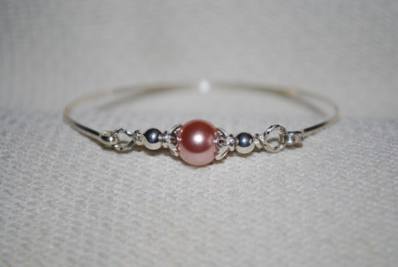 Girl's Sterling Silver and Glass Pearl Mini Bangle
