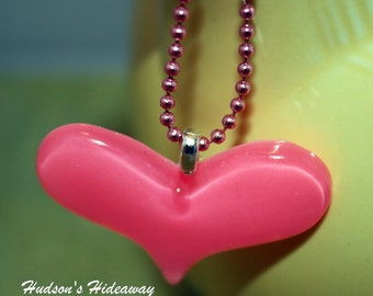 Pretty in Pink heart resin necklace