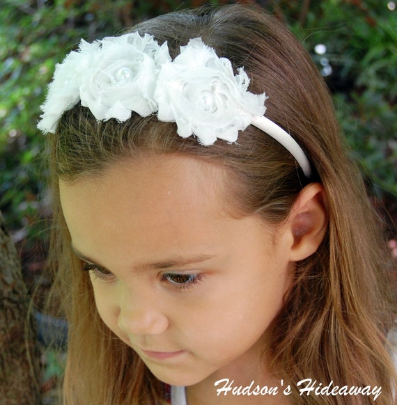 White shabby chic chiffon flower headband with pearl center Flower girl Photo prop