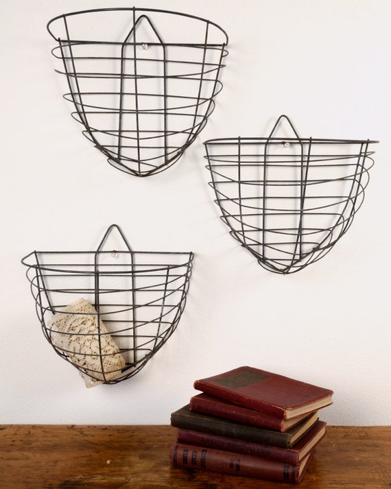 items similar to vintage wire wall hanging baskets on etsy