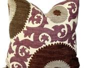 Braemore  Decorative Pillow, Accent Pillow Throw Pillow, Pillow Cover, 18x18 20x20 14x20, Suzani Pattern Amethyst,  Designer Fabric