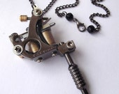 Black Tattoo Machine Pendant Necklace with Nape Piercing Clasp Detail - 'TATTOO' text style