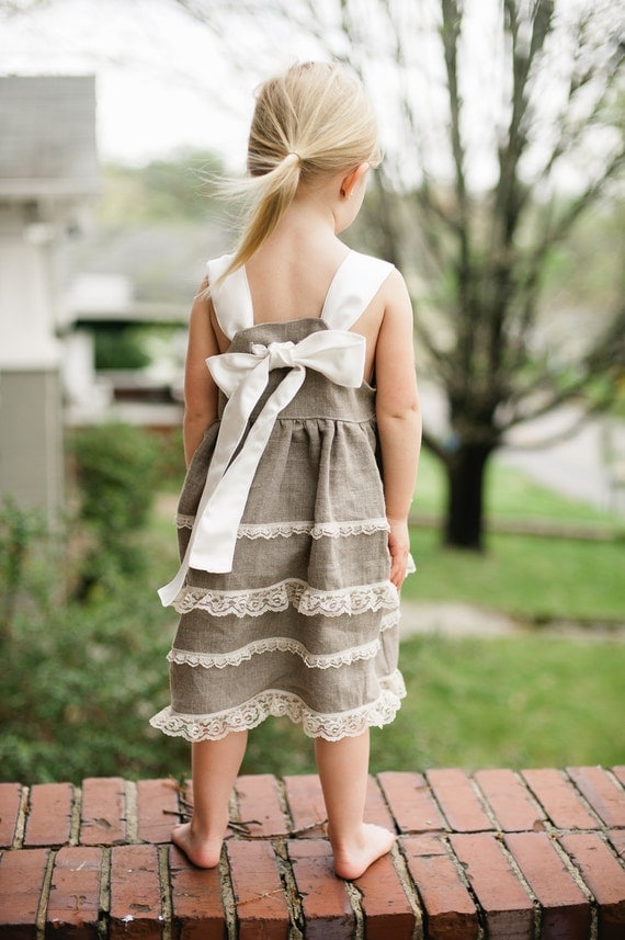 Linen and Lace Dress - Special Occasion Dress - Size 2T to 5T