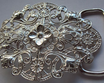Sterling Silver Victorian Style Womens Belt Buckle with Leather Belt