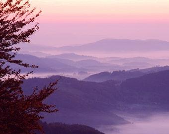 Vienna Austria - Mountain - Fog - Fine Art Photograph - Alpine Sunrise